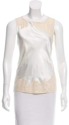 Elizabeth and James Silk Lace-Accented Top