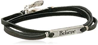 "Ettika Colored Believe Statement Plate Black Leather Wrap Bracelet 21""+ 1"" Extender"