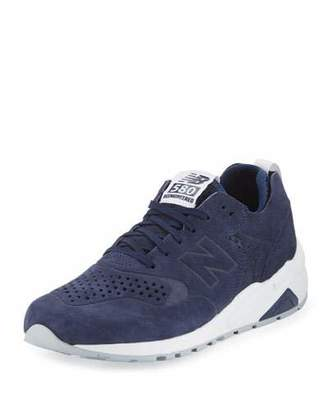 New Balance Men's 580 Deconstructed Suede Sneaker, Blue/Silver $140 thestylecure.com