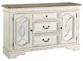 Signature Design by Ashley Realyn Dining Room Server Chipped White