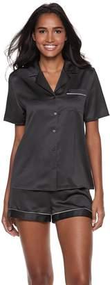 Apt. 9 Women's Notch Collar Satin Shirt & Shorts Pajama Set