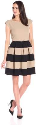 Tiana B Women's Short Sleeve Retro Tv Print Jersey Dress, Black/White, Small
