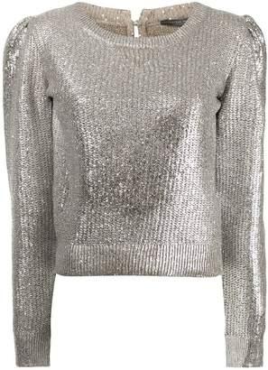 Alexander McQueen metallic foil jumper