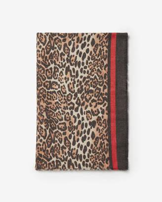 Express Leopard Print Stripe Oblong Scarf