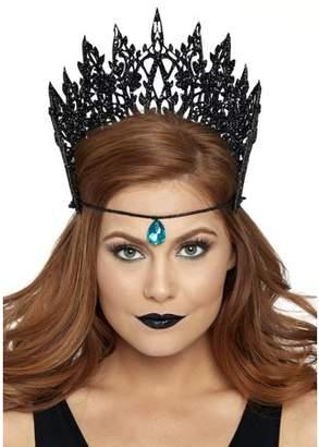 Leg Avenue Women's Glitter Die Cut Crown Jewel Accent, Black, One Size
