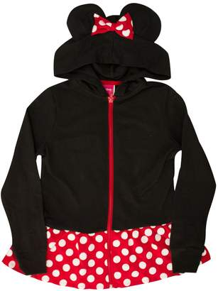 Disney Minnie Mouse Girls Sweatshirt Zip Jacket Costume Ears Ages 4-12