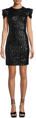 Michael Kors Cap-Sleeve Paillette Sheath Cocktail Dress