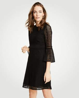 Ann Taylor Mixed Lace Flare Sleeve Shift Dress
