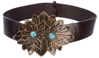 Just Cavalli Embellished Leather Wrap Belt