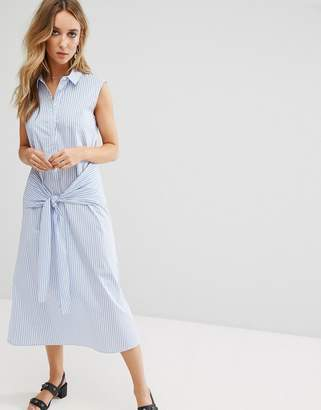 Mango Tie Front Stripe Midi Shirt Dress $106 thestylecure.com