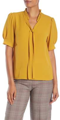 Cynthia Steffe CeCe by Tie Neck Short Sleeve Blouse