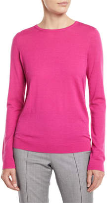 St. John Jewel-Neck Long-Sleeve Wool Jersey Sweater