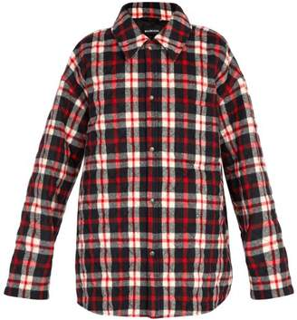 Balenciaga Quilted Plaid Coat - Mens - Red