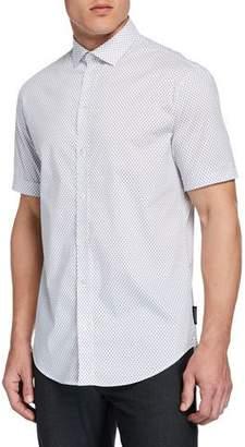 Emporio Armani Men's Short-Sleeve Micro-Diamond Shirt