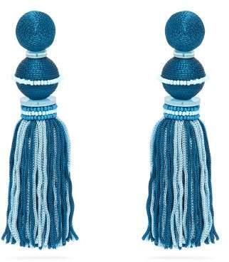 Oscar de la Renta Bead Embellished Tassel Drop Clip On Earrings - Womens - Blue