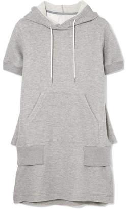 Sacai Hooded Cotton-blend Jersey Dress - Light gray