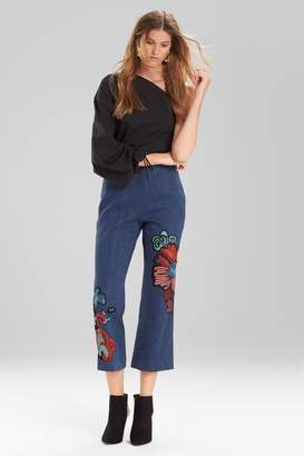 Natori Josie Casual Twill Flare Pants With Embroidery