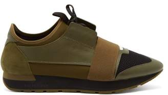 Balenciaga Race Runner Panelled Trainers - Mens - Black Green