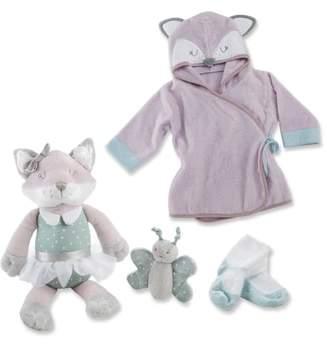 Baby Aspen Forest Friends Fox Plush Robe, Fuzzy Socks, Stuffed Animal & Rattle Set