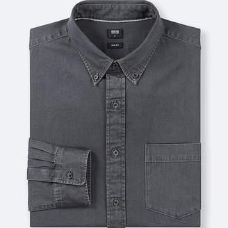 Uniqlo Men's Denim Slim-fit Long-sleeve Shirt