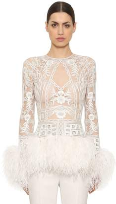 Embellished Sheer Top With Feather Trim