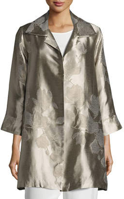 Caroline Rose Fine Vines Jacquard Party Jacket, Champagne, Plus Size