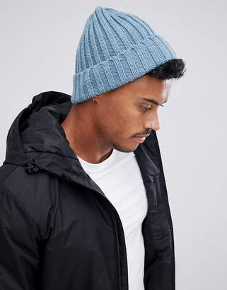 Asos DESIGN fisherman beanie in blue chunky rib