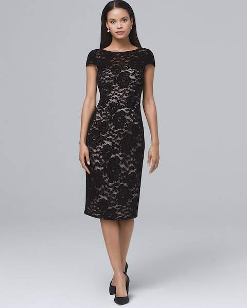 Whbm Velvet Lace Sheath Dress