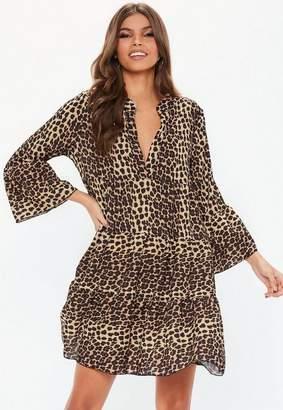 Missguided Brown Leopard Print Long Sleeve Smock Dress