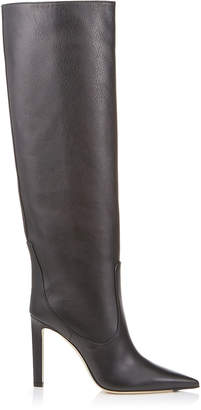 Jimmy Choo MAVIS 100 Black Smooth Leather Knee High Boots