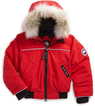 Canada Goose 'Grizzly' Down Hooded Bomber Jacket with Genuine Coyote Fur Trim