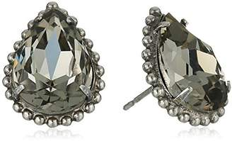 Sorrelli Core Antique Silver Tone Crystal Rock Pear Cut Solitaire Stud Earrings