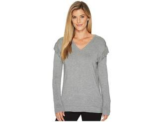 Calvin Klein V-Neck with Ruffle Sleeve Women's Sweater