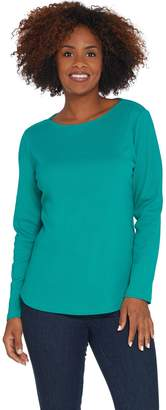Denim & Co. Essentials Ribbed Boatneck Long-Sleeve Top