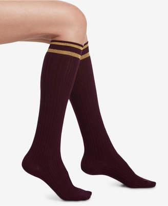 Hue Metallic-Stripe Cable-Knit Knee Socks