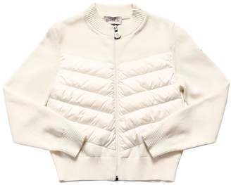 Moncler Quilted Nylon & Knitted Cotton Cardigan
