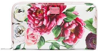 Dolce & Gabbana multicoloured floral print zip around leather wallet