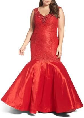 Mac Duggal Embellished Lace & Taffeta Mermaid Gown