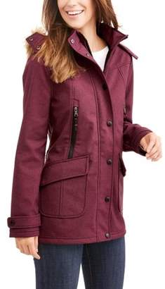 Big Chill Women's Yarn Dye Soft Shell Parka With Faux Fur Trim Hood