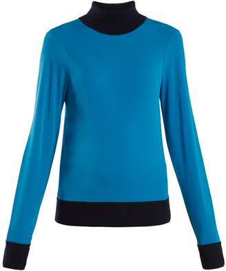 Joseph Roll-neck knit-trimmed jersey sweater