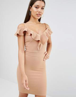 Oh My Love Off The Shoulder Frill Midi Dress