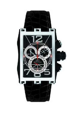 M·A·C Gio Monaco Men's 619-A Mac V Rectangular PVD Coated Side Black Alligator Leather Chrono Watch