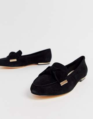 Office Flannery black suede bow buckle flat loafers
