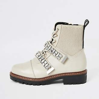 River Island Cream faux leather embellished biker boots