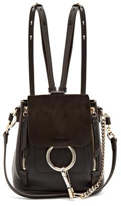 Chloé Faye Suede And Leather Mini Backpack - Womens - Black