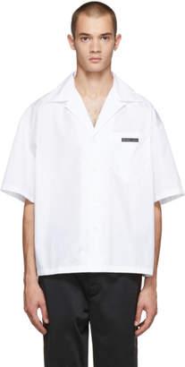Prada White Short Sleeve Logo Patch Shirt