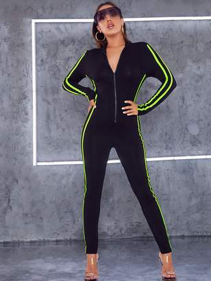 Shein Neon Lime Side Striped Zip Up Fitted Jumpsuit
