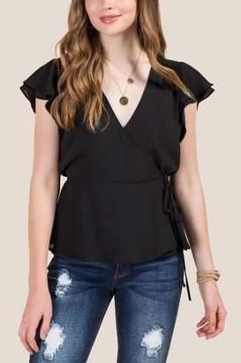 francesca's Larissa Flutter Sleeve Wrap Top - Black