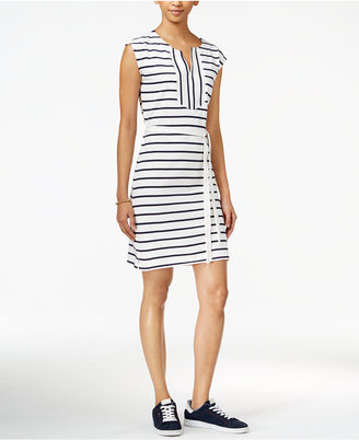 Tommy Hilfiger Striped Belted Dress, Only at Macy's $79.50 thestylecure.com