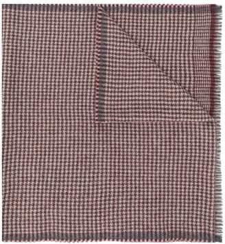 Corneliani plaid logo fringed scarf